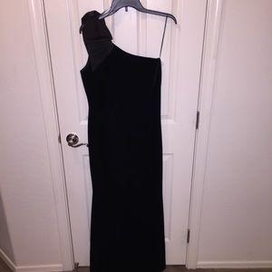 4d6a25579194 Eliza J Dresses | Black Velvet One Shoulder Bow Gown Petite | Poshmark